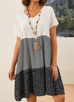 Plus Size Casual Polka Dot Tunic V-Neckline A-line Dress (4355616)