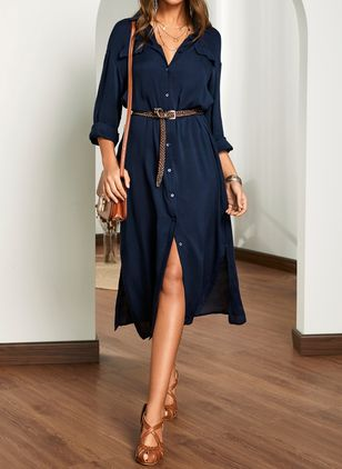 Casual Solid Shirt Collar X-line Dress (1510376)