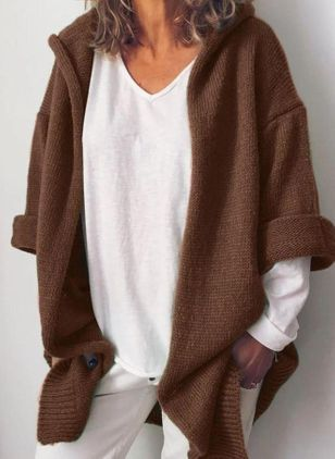 Long Sleeve Hooded Sweaters Coats (101241466)