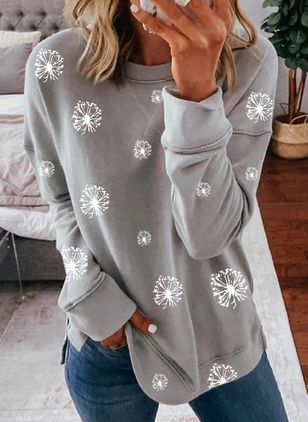 Floral Casual Round Neckline Long Sleeve Blouses (107562497)