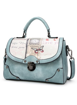 Shoulder Fashion PU Print Convertible Bags