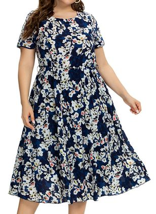 Plus Size Casual Floral Round Neckline Midi X-line Dress (4355745)