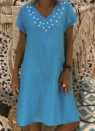 Casual Polka Dot Tunic V-Neckline A-line Dress (100001947)