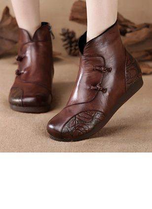 Women's Button Ankle Boots Flat Heel Boots
