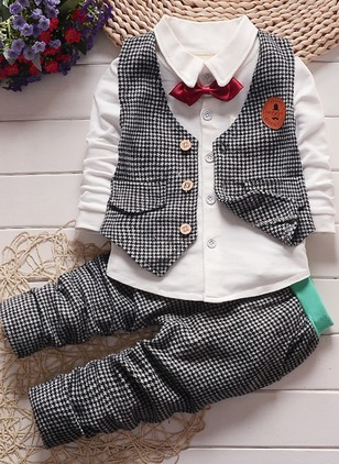 Boys' Plaid Going out Long Sleeve Clothing Sets