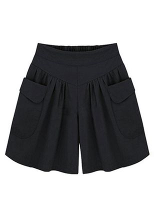 Casual Straight Pockets High Waist Polyester Pants Shorts (4228681)
