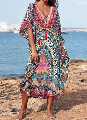 Plus Size Cover-Ups Polyester Natural Waist Tassels Floral Plus Swimwear (1516931)