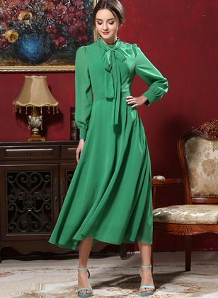 Solid Long Sleeve Midi A-line Dress
