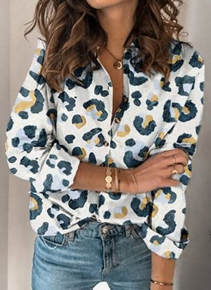 Leopard Casual Collar Long Sleeve Blouses (118207594)