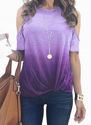 Color Block Round Neck Short Sleeve Casual T-shirts (4135511)