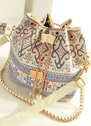 Shoulder Fashion Canvas Print Chain Bags