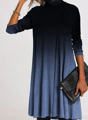 Casual Color Block Round Neckline Long Sleeve Knee-Length Dress (107251401)