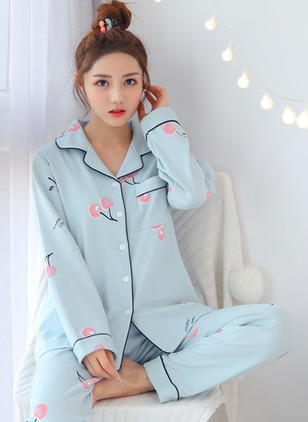 Cotton Collar Color Block Pockets Pajamas