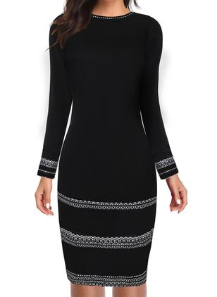 Elegant Geometric Pencil Round Neckline Bodycon Dress (119303427)