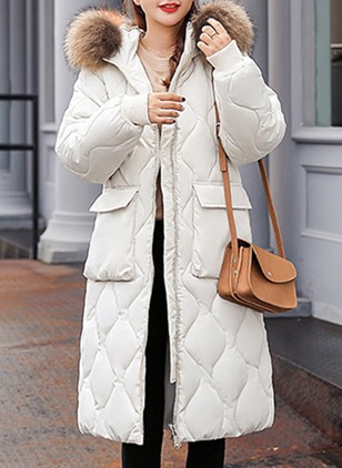 Long Sleeve Hooded Zipper Pockets Removable Fur Collar Down Coats