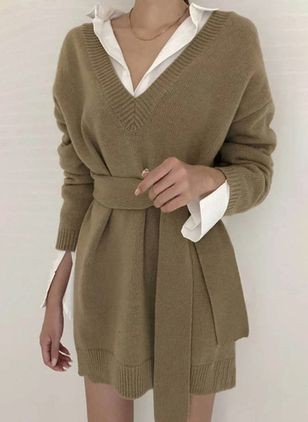 Casual Solid Sweater V-Neckline X-line Dress (111798439)