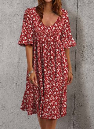 Casual Floral Tunic V-Neckline Shift Dress (147059385)