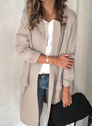 Long Sleeve Lapel Pockets Blazers (4541805)