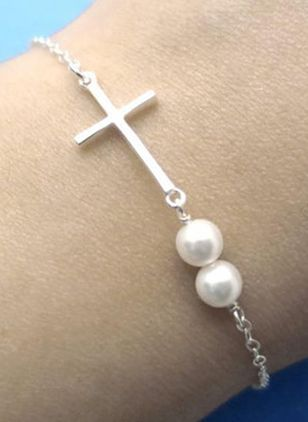 Casual Cross Pearls Bangle Bracelets (4456894)