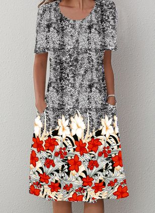 Casual Floral Tunic Round Neckline Shift Dress (100038071)