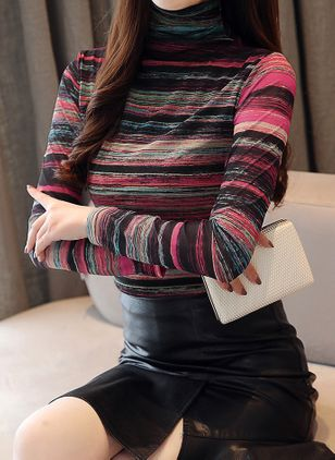 Color Block High Neckline Long Sleeve Vintage T-shirts