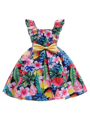 Girls' Floral Holiday Sleeveless Dresses