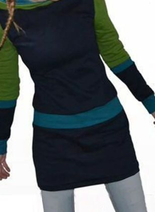 Casual Color Block Sweatershirt Draped Neckline Sheath Dress (112236646)
