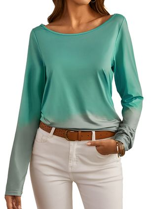 Color Block Casual Round Neckline Long Sleeve Blouses (1364368)