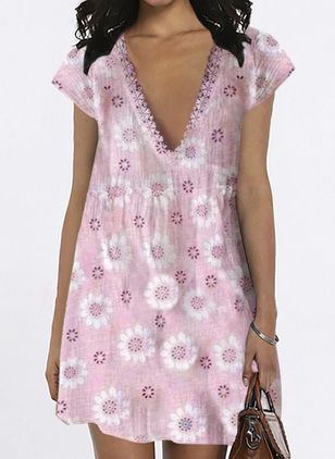Casual Floral Tunic V-Neckline Shift Dress (4126543)