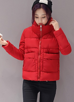 Polyester Long Sleeve Stand Collar Pockets Down Coats Coats