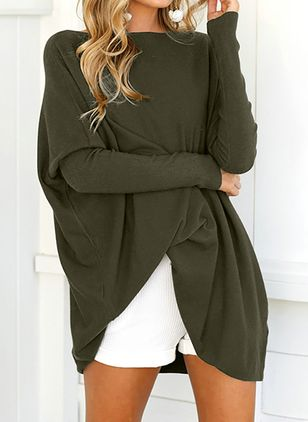 Round Neckline Solid Loose Long Shift Sweaters