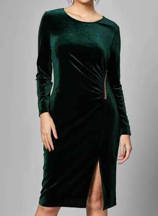 Elegant Solid None Round Neckline Bodycon Dress (1103993)