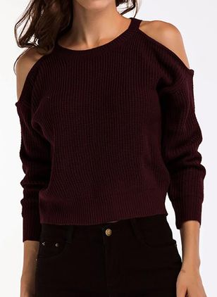 Round Neckline Solid Casual Loose Regular Shift Sweaters (100772573)