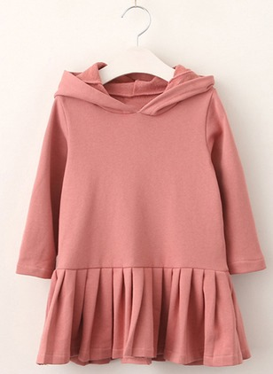 Girls' Casual Solid School Long Sleeve Dresses