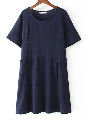 Plus Size Tunic Solid Round Neckline Casual Above Knee Plus Dress (1524851)