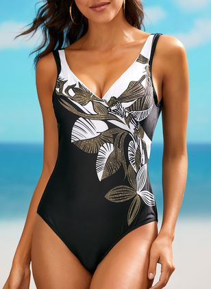 Polyester Pattern One-piece Swimwear (1340139)