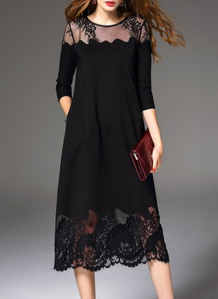Solid Hollow Out 3/4 Sleeves Midi A-line Dress