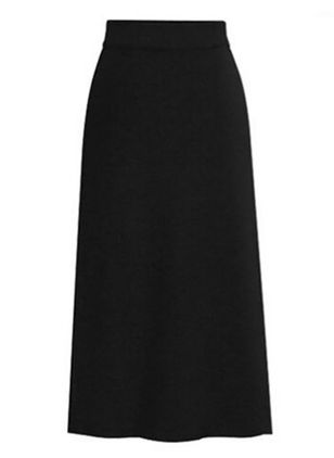 Solid Mid-Calf Elegant Skirts (131286569)