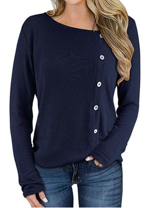 V-Neckline Solid Casual Loose Regular Buttons Sweaters (146878399)