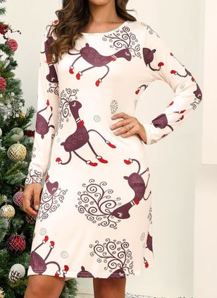 Christmas Character Round Neckline Above Knee X-line Dress (146683234)