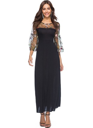 Color Block Lace 3/4 Sleeves Maxi Shift Dress