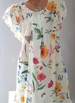 Casual Floral Shirt Round Neckline Shift Dress (5242850)