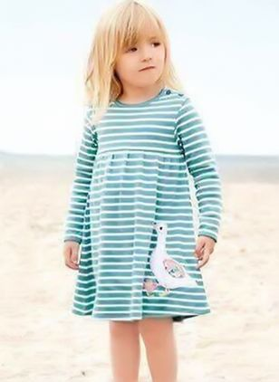 Girls' Casual Stripe Daily Long Sleeve Dresses