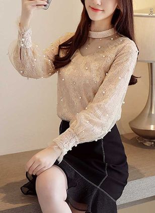 Solid High Neckline Long Sleeve Elegant T-shirts