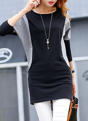 Cotton Color Block Round Neck Half Sleeve Casual T-shirts
