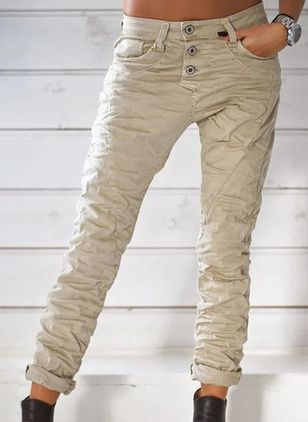 Casual Straight High Waist Polyester Jeans (106943108)