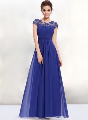 Solid Lace Cap Sleeve Maxi A-line Dress
