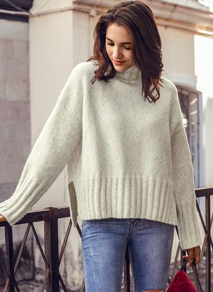 High Neckline Solid Loose Regular Shift Sweaters Sweaters