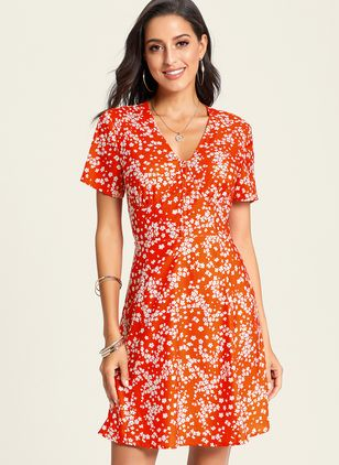 Boho Floral Buttons V-Neckline X-line Dress (1331109)