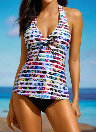 Plus Size Polyester Color Block Tankinis Swimwear (1299015)